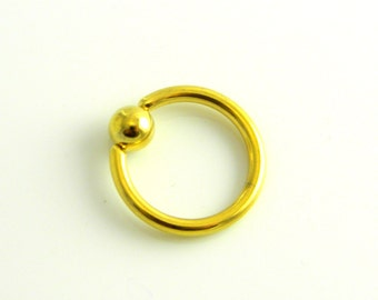 14g gold plated surgical stainless steel captive bead ring