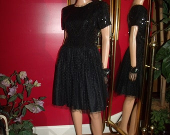 Black Flapper Dress Beaded   does  Tea Party 50 s Size 10