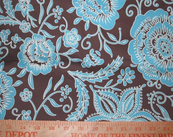 Stretch Cotton Sateen Coffee Brown and Turquoise Floral - per half yard