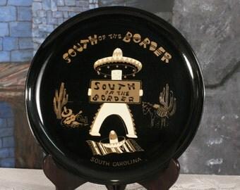 South of the Border Serving Tray Souvenir South Carolina Black Gold Mexican Platter 60s