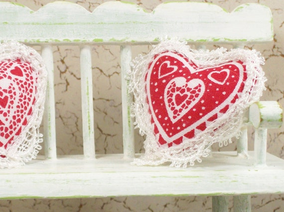 Dollhouse Miniature Valentine Heart Pillow Red White One Inch Scale