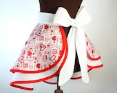 Valentines HALF APRON . Layered Valentines Apron, Red Hearts, Valentines Gift for Mom, Womens Apron, Red and White Retro Apron