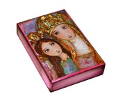 Ora Pro Nobis Saint Anne and Mary - Aceo Giclee print mounted on Wood (2.5 x 3.5 inches) Folk Art  by FLOR LARIOS