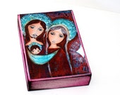 Little White Star Nativity - ACEO Giclee print mounted on Wood (2.5 x 3.5 inches) Folk Art  by FLOR LARIOS
