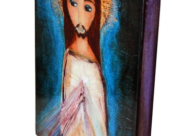 Divine Mercy -  Giclee print mounted on Wood (6 x 8 inches) Folk Art  by FLOR LARIOS