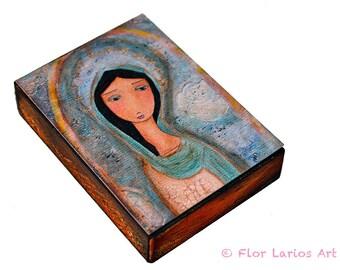 Virgen de Cuapa -  Giclee print mounted on Wood (6 x 8 inches) Folk Art  by FLOR LARIOS