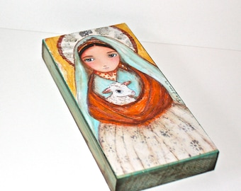 Saint Bernadette Shepherdess -  Giclee print mounted on Wood (3 x 6inches) Folk Art  by FLOR LARIOS