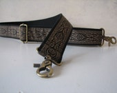 Custom BAG Strap,  Black and Bronze Purse Strap with Antique Bronze Swivel Clip