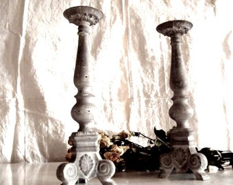 French Style Iron Faded Gray Candlesticks