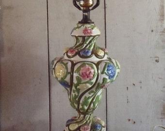 Vintage Capodimonte Floral Table Lamp