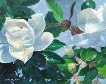Howard Scherer ORIGINAL artwork oil painting- 'MAGNOLIA TREE' 18 x 24