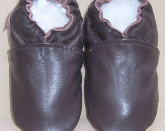 brown leather baby shoes toddler shoes solid brown soft soled shoes- moxies brown leather baby shoes