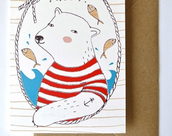 SALE - Greeting card - Ahoy Polar Bear - sailor - nautical - postcard - hello