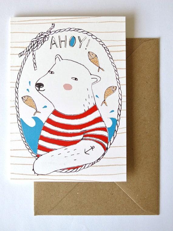 SALE - Greeting card - Ahoy Polar Bear - sailor - nautical - postcard - hello