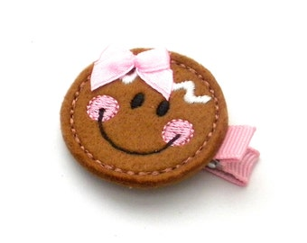 Gingerbread Hair Clip, Brown and Pink Gingerbread, Embroidered Felt Child Hair clip