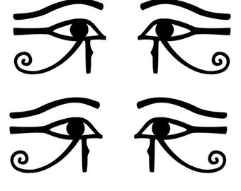 Egyptian Eye of Thoth Horus Ra black vinyl decals SET of 4