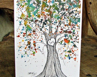 NEW, Amber, Sweetheart Tree Notecard, Customized with Your Initials, blank inside