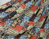 Vintage 70s Hippie Patchwork Maxi Skirt Bohemian