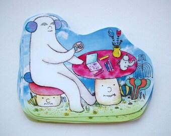 Giant Puppy Bear Morning Coffee Sticker