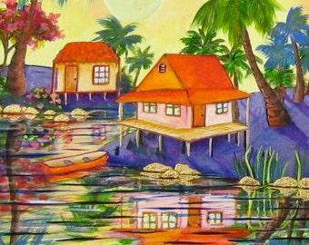 Tropical Island coastal landscape  Key West original fine art  KeROBinson Sundown Original