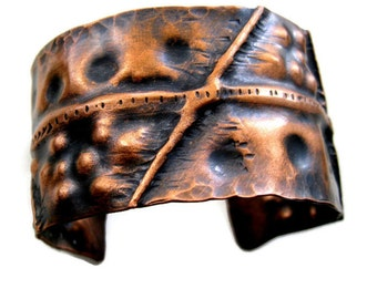 Bracelet Cuff Copper Textured Hammered Fold Formed Antiqued -  made to order