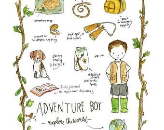 Children's Art - Adventure Boy - Archival Art Print