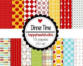 Digital Scrapbook  DinnerTime-INSTANT DOWNLOAD