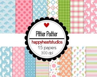 Digital Scrapbook  PitterPatter-INSTANT DOWNLOAD