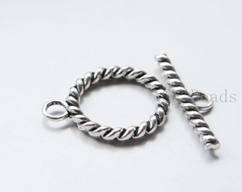 6 Sets Oxidized Silver Tone Base Metal Toggle Clasps (16336Y-G-308)