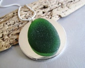 Emerald Green - Sea Glass Necklace - Beach Glass Jewelry - Circle Pendant