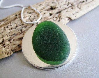 Emerald Green - Sea Glass Necklace - Beach Glass Jewelry - Circle Pendant