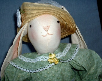Handmade Cloth Doll, Easter Bunny, Girl Rabbit, Holiday Home Decor
