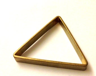 10 pieces of cut raw brass tube outline charm in triangle geometric shape deco 40x5mm