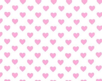 FAT QUARTER- Hearts all Over Bubblegum Pink with White Background by Michael Miller Fabrics CX5920-BUBB-D