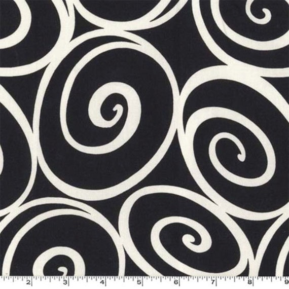 Fat Quarter - IRONWORK Ebony black white swirls Michael Miller CX2780-EBON-D