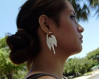 """Fake Gauge Earrings - Organic Water Buffalo Bone """"Angel Inspired"""" Tribal Expanders Hand Carved Fake Piercings"""