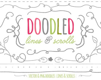 INSTANT DOWNLOAD : Doodled Lines and Scroll Graphics - Vector & PNG - Commercial Use