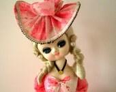 Vintage Big Eyed Bradley Doll with Pink Floral Dress and Hat