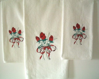 Vintage Towels White with Red Roses Set of Three