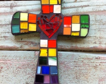 Mosaic MultiColored Cross with Heart in Center- small