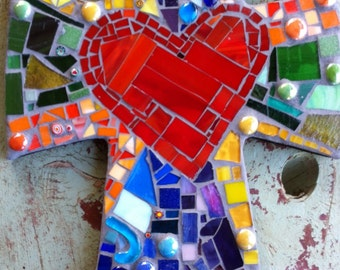 Large Mosaic cross with heart- multicolored