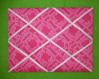 New memo board made with Lilly Pulitzer Loopy Lilly fabric