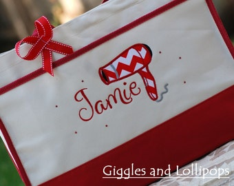 Personalized tote bag cosmetology  beauty school hair dresser  red chevron