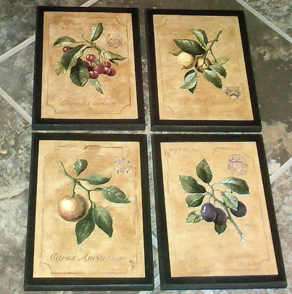 Kitchen Wall Decor Plaques : Fruit kitchen wall decor signs plaques set colorful yellow