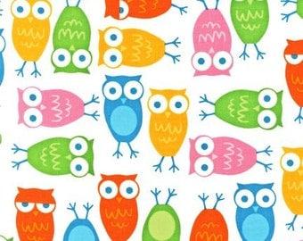 Ann Kelle Urban Zoologie Owls white background multicolored Fabric Robert Kaufman - 1 yard