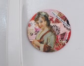 Funny Fridge Magnet with Victorian Woman Shabby Chic Vintage Style Collage  -- What Does She Do Anyway