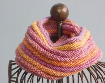 Sunset Circle Scarf, Infinity Scarf, Boho Scarf Knit Cowl Scarf, Orange, Purple Eternity Scarf, Ready to Ship