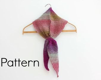 PDF Knitting Pattern  Triangle Keyhole Scarf, Stay in Place Scarf Patterm, Self Tying Scarf, Instant Download