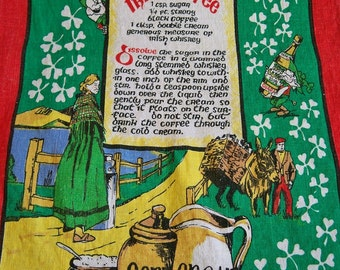Vintage Irish Coffee Linen Kitchen Towel with Recipe Shamrocks