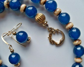 OCEAN Blue and CARAMEL Beaded Necklace and Earrings/Blue Jade Beaded Necklace Set/Czech Picasso Beaded Necklace Set/MERMAID Clasp Necklace